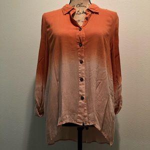 Orange ombré long sleeve light button up